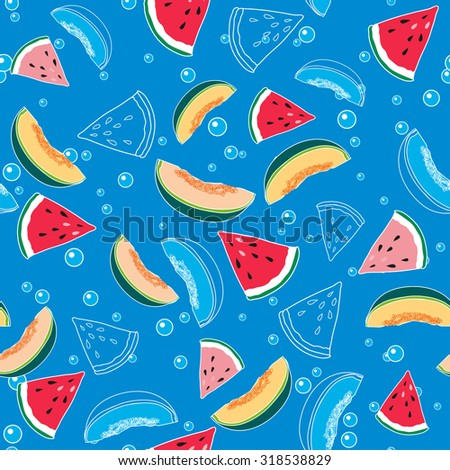 pattern of watermelon and melon in water on blue seamless background  - stock vector