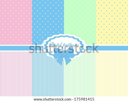 8 patterns. Polka dots set in Easter colors - stock vector