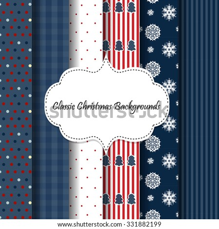 6 patterns with Christmas tree and snowflake for winter holidays design - stock vector