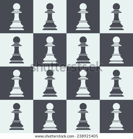 pawns on chessboard. chess pieces seamless pattern - stock vector