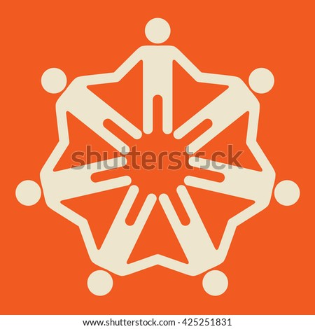 7 people holding hands - stock vector