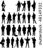 people mix silhouette vector - stock photo