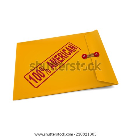 100 percent American stamp on manila envelope isolated on white - stock vector