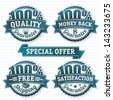 100 percent badges. Vector design elements set. - stock photo