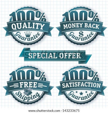 100 percent badges. Vector design elements set. - stock vector
