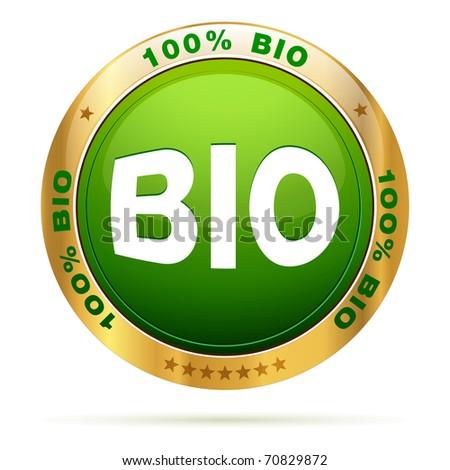 100 percent bio badge | editable vector label - stock vector