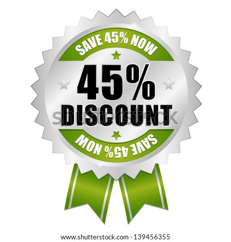 45 percent discount button green