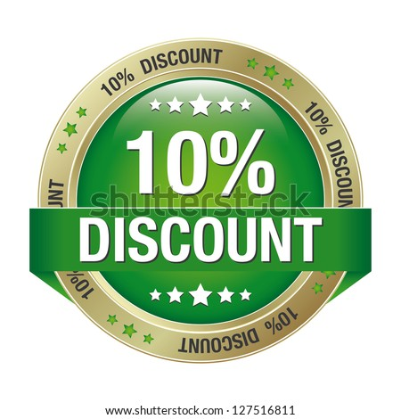 10 percent discount green gold button isolated - stock vector