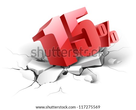 15 percent discount icon on white background - stock vector