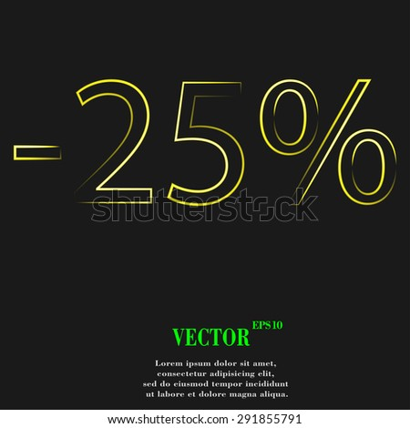 25 percent discount icon symbol with effect of yellow neon. Vector illustration - stock vector