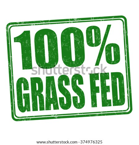 100 percent grass fed grunge rubber stamp on white background, vector illustration - stock vector