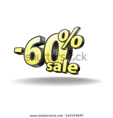60% percent. Isolated. Black and yellow. Sale.