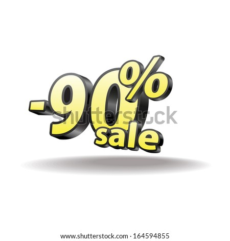 90% percent. Isolated. Black and yellow. Sale.