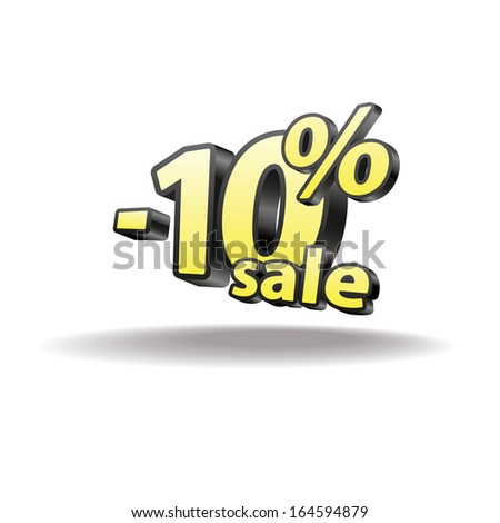 10% percent. Isolated. Black and yellow. Sale.