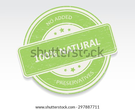 100 percent natural grunge rubber stamp.Vector illustration. - stock vector