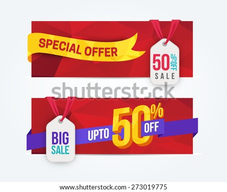 50 Percent Off Discount promotion advertising banners set isolated vector illustration - stock vector