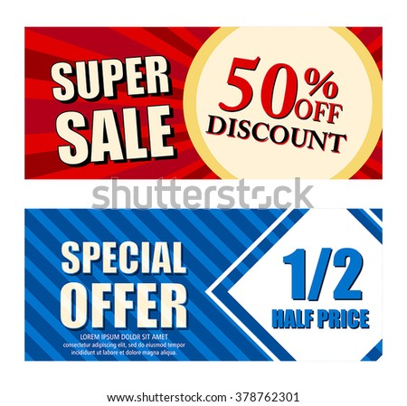 50 percent off discount super sale and special offer half price text banners, two vouchers labels, business commerce shopping concept, vector - stock vector