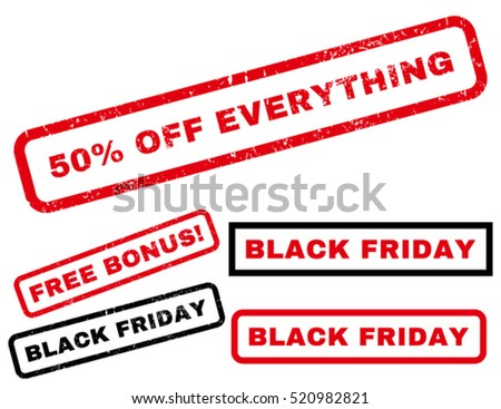 50 Percent Off Everything rubber seal stamp watermark with additional design elements for Black Friday offers. Tag inside rectangular shape with grunge design and dust texture.
