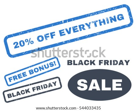 20 Percent Off Everything rubber seal stamp watermark with additional design elements for Black Friday offers. Vector smooth blue signs.