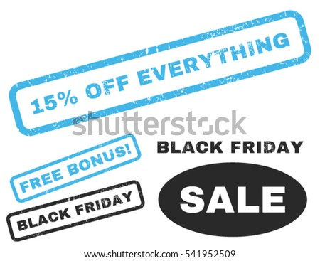 15 Percent Off Everything rubber seal stamp watermark with additional images for Black Friday offers. Vector blue and gray emblems.