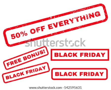 50 Percent Off Everything rubber seal stamp watermark with bonus banners for Black Friday sales. Vector red emblems. Caption inside rectangular shape with grunge design and scratched texture.