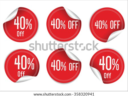 40 percent off red paper sale stickers