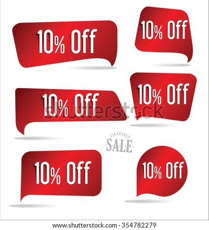 10 percent off red sticker collection - stock vector