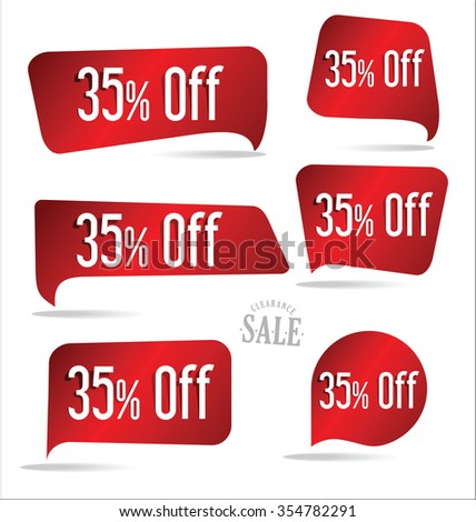 35 percent off red sticker collection - stock vector