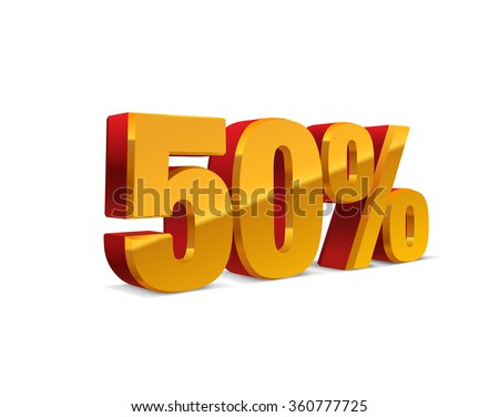 50% percent off, sale background, red-golden-yellow object 3D. Eps10 Vector.