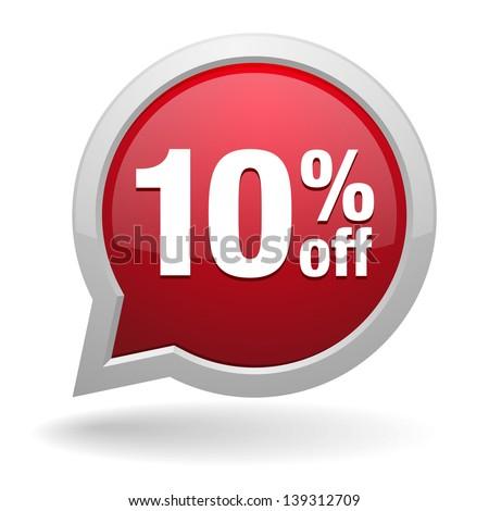 10 percent off speech bubble - stock vector