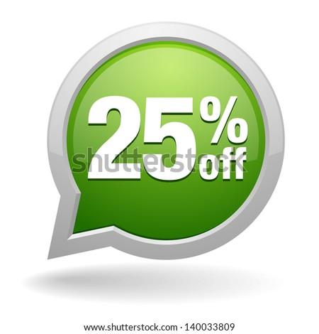 25 percent off speech bubble - stock vector