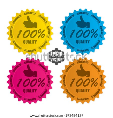 100 percent Quality over colorful circle sticker and label - vector illustration  - stock vector