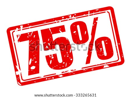 75 percent red stamp text on white - stock vector