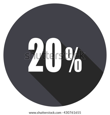 20 percent vector icon, circle flat design internet button, web and mobile app illustration