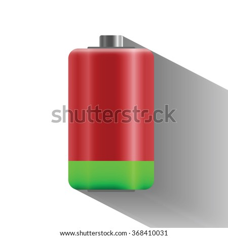 10 percentage battery charge status with long shadow, flat design  - vector illustration - stock vector