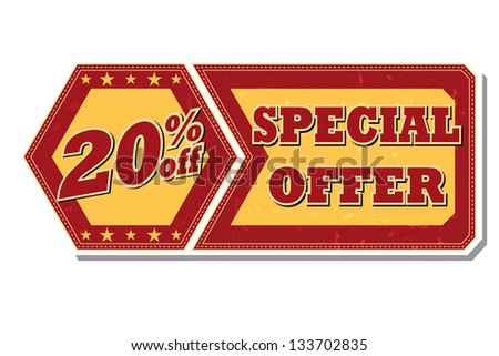 20 percentages off discount special offer - retro style red ocher hexagon and flyer label with text and stars, business concept, vector - stock vector