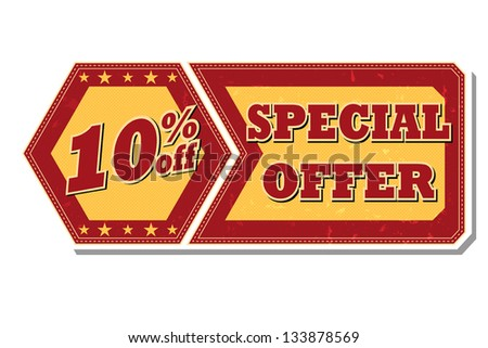 10 percentages off discount special offer - retro style red ocher hexagon and flyer label with text and stars, business concept, vector - stock vector