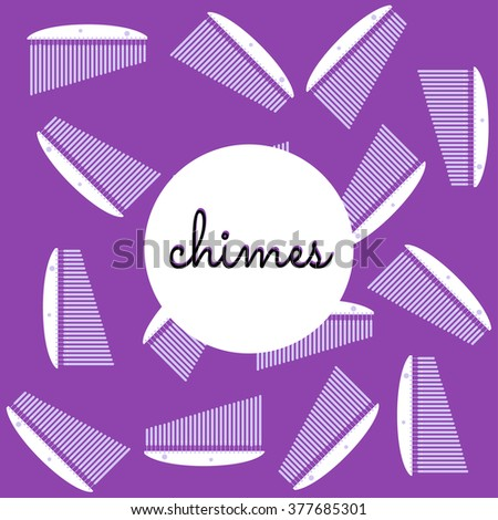 percussion chimes on colored background with text - stock vector