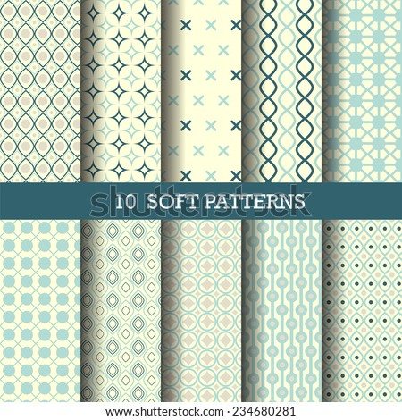 10 perfect blue patterns,  Pattern Swatches, vector, Endless texture can be used for wallpaper, pattern fills, web page,background,surface