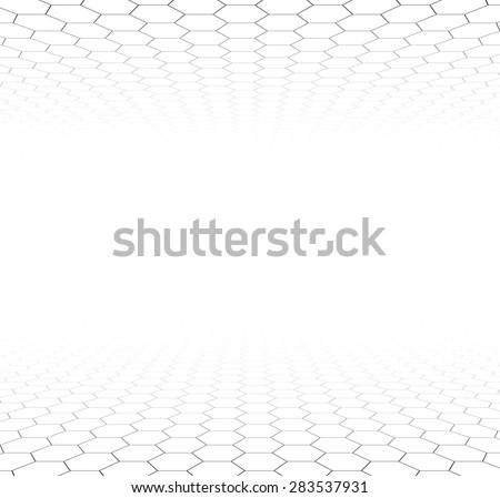 Perspective grid hexagonal surface. Vector illustration.  - stock vector