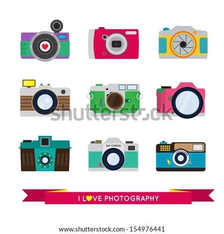 Photo Camera Vector Set - I love photography - Flat Style - stock vector