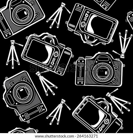 photo cameras vector seamless pattern - stock vector