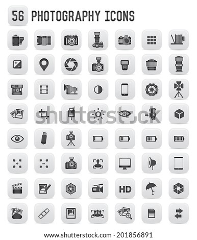 56 Photography icons,black buttons - stock vector