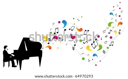 pianist plays the piano - stock vector