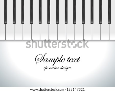 Piano keys viewed, vector background - stock vector