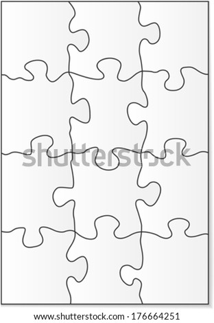 12 piece blank puzzle forms. Vector illustration - stock vector