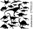 19 pieces of detailed vectoral dinosaur silhouettes. - stock photo