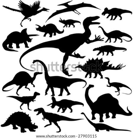 19 pieces of detailed vectoral dinosaur silhouettes. - stock vector