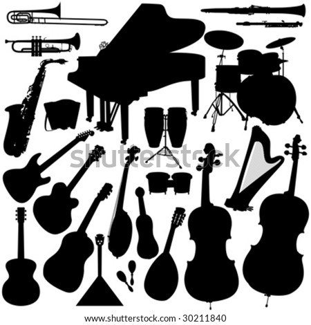 22 pieces of detailed vectoral musical instrument silhouettes. - stock vector