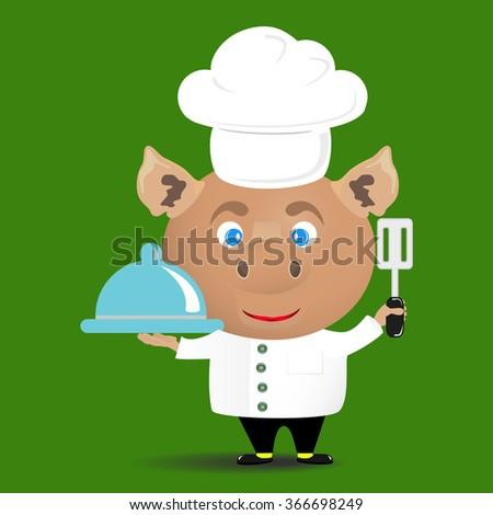 piggy a cook - stock vector